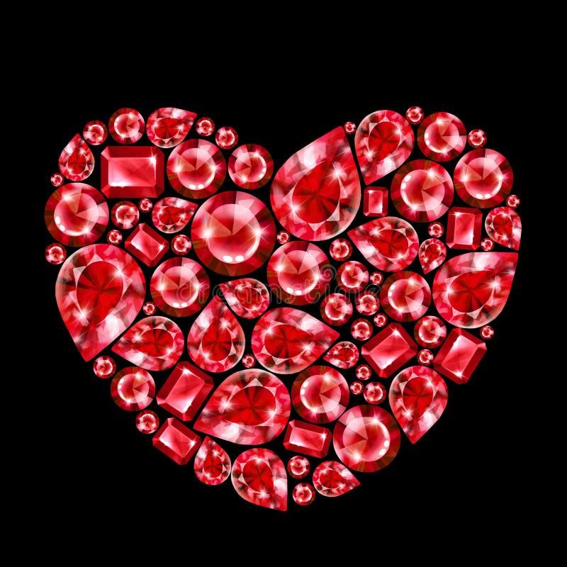 Ruby gem heart, isolated. On black background royalty free illustration