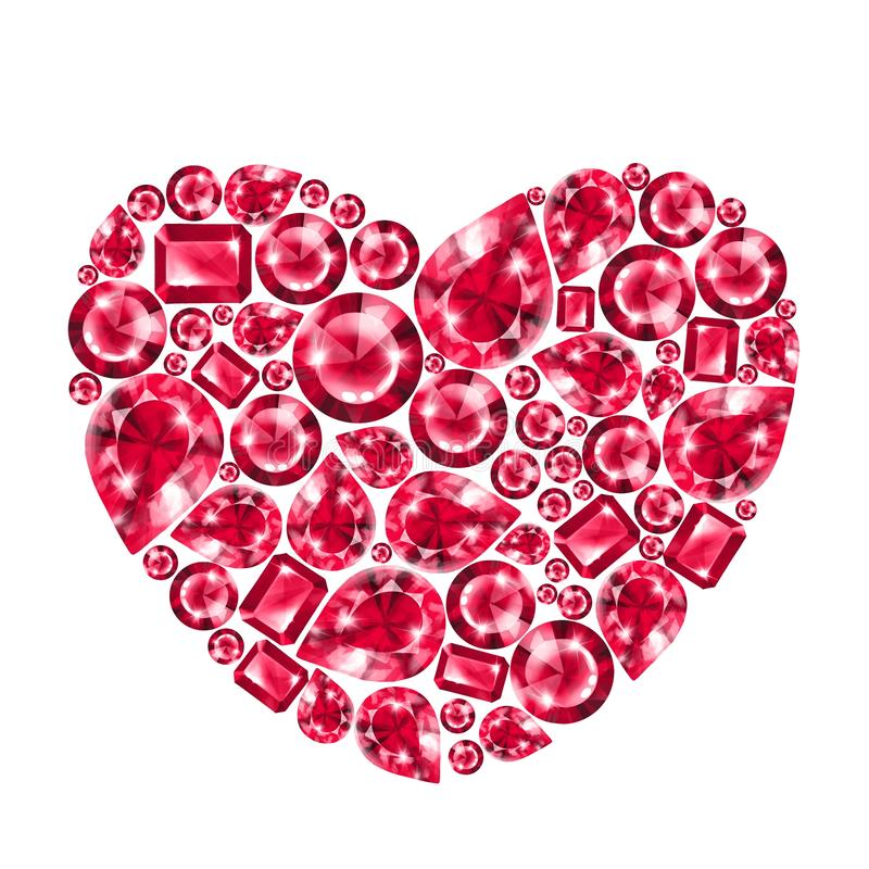 Ruby gem heart, isolated. On white background vector illustration