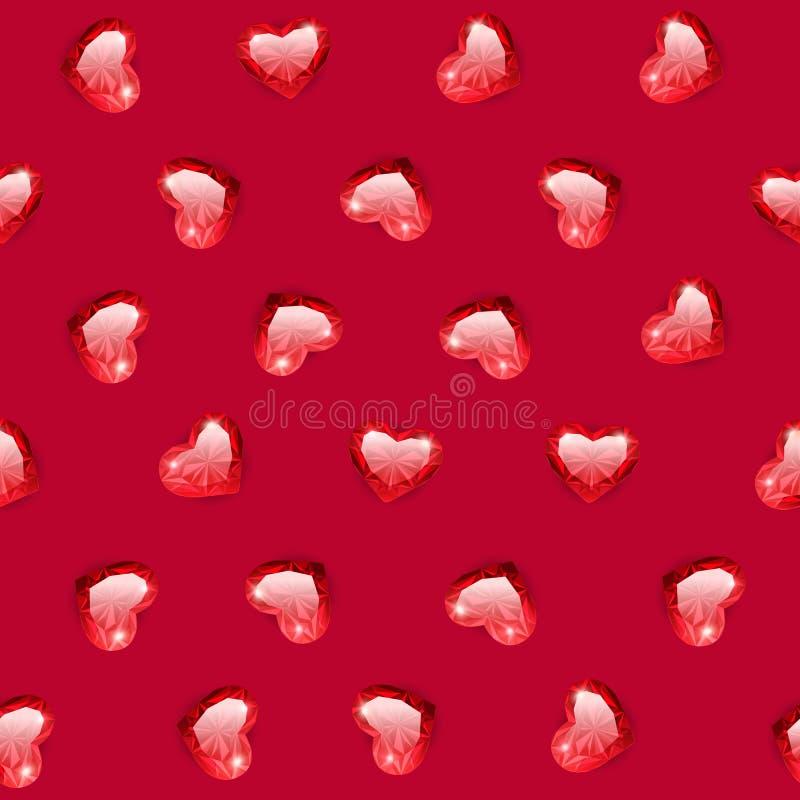 Ruby Gem Hearts Seamless Pattern royalty-vrije stock fotografie
