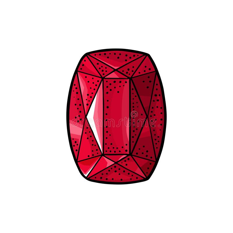 Ruby gem stone. Vintage color engraving illustration. Ruby, red gem stone. Top view. Vintage color engraving illustration for poster, label, web. Isolated on royalty free illustration