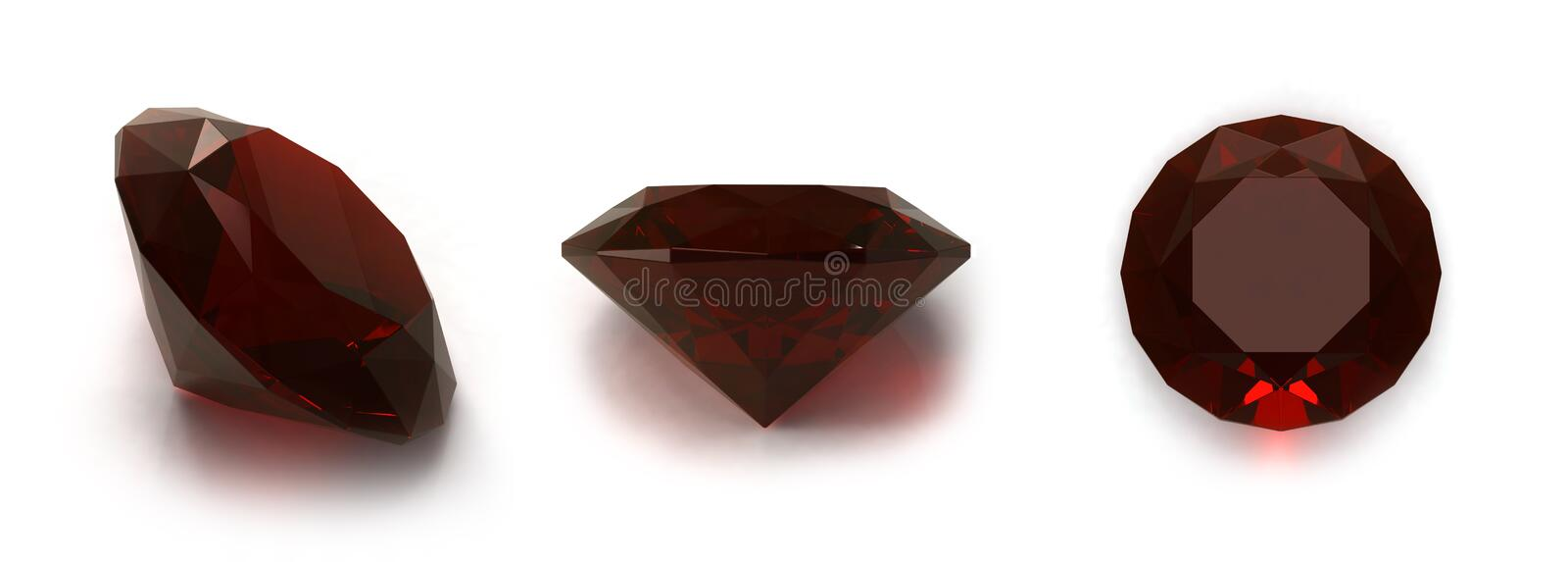 Ruby gems. Three positions on white background royalty free illustration