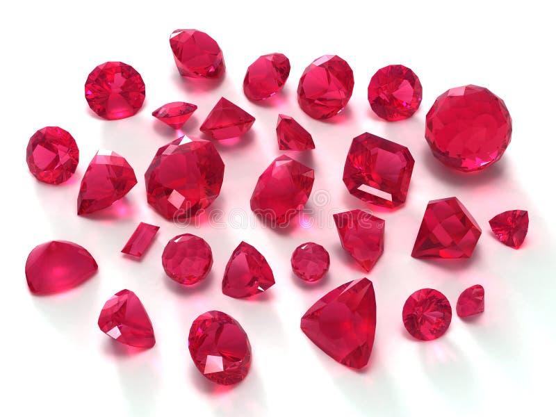 Ruby gems. Isolated on white background stock illustration