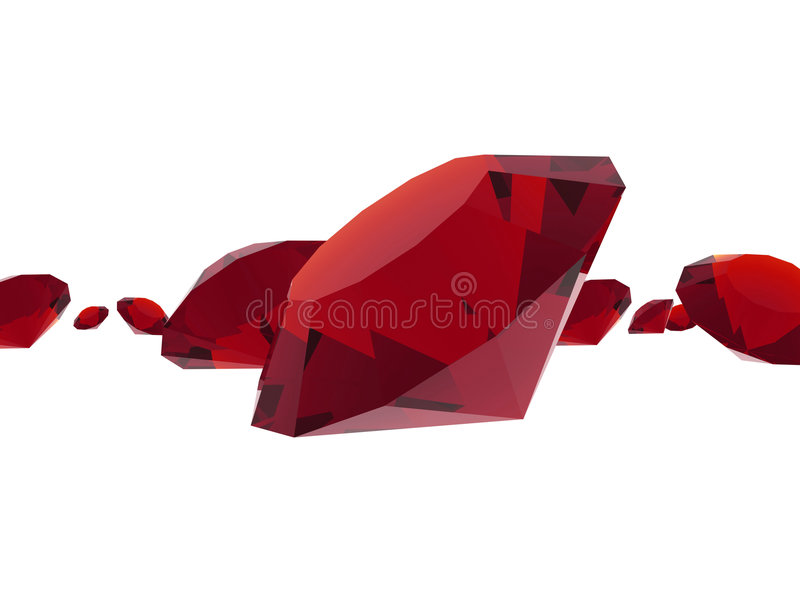 Ruby gems. Isolated ruby gems on white background stock illustration