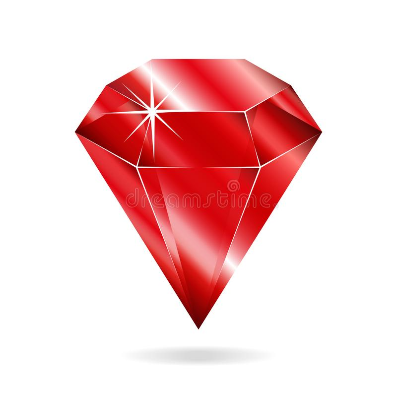 Ruby gemstone. Isolated object on a white background, vector illustration royalty free illustration