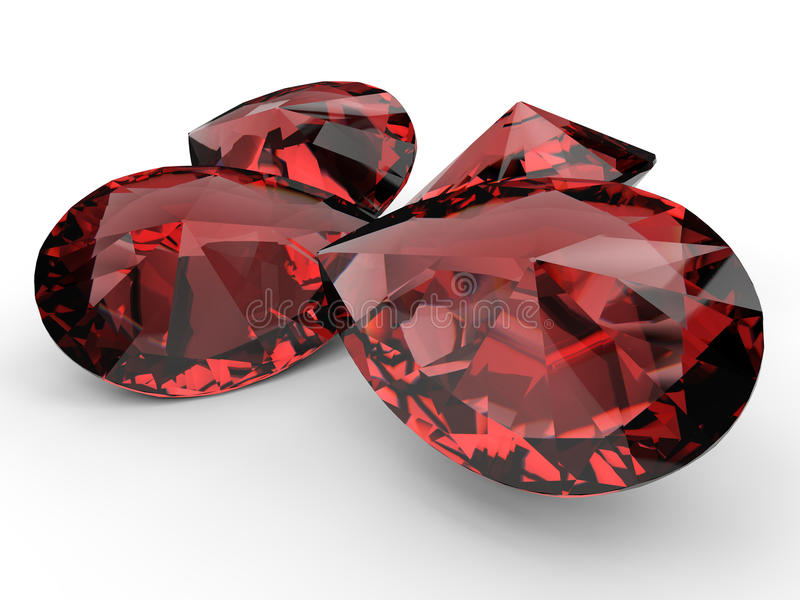 Ruby gemstones. 3D rendered illustration of four ruby gemstones isolated on a white background with soft shadows vector illustration