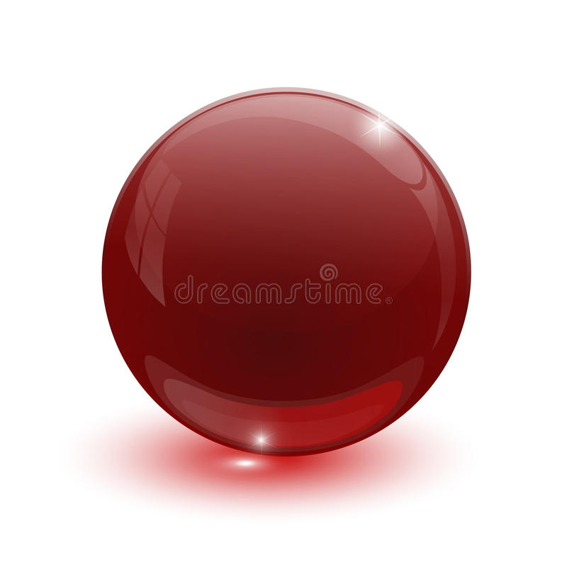 Ruby glassy ball. On white background stock illustration