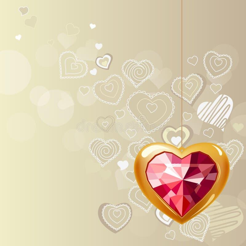 Ruby gold heart on light background. Ruby gold heart hanging on light grey background royalty free illustration