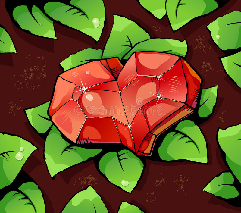 Ruby heart. Framed ferns, illustration stock illustration