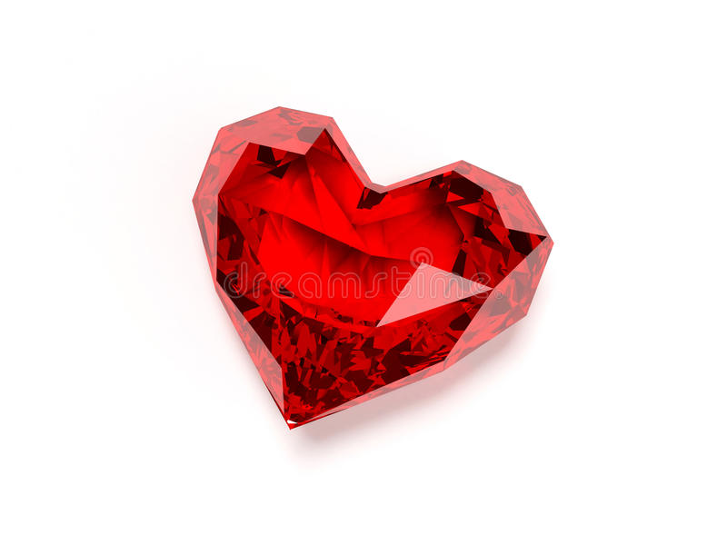 Ruby heart. 3d rendered illustration of a heart shaped ruby vector illustration