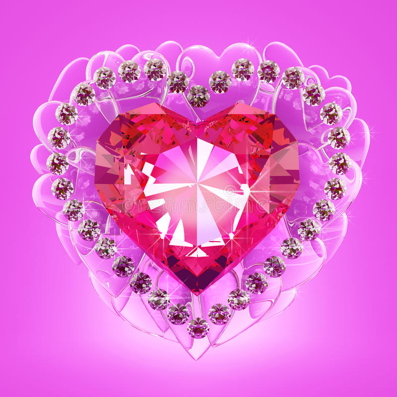 Ruby heart. Jewel in the form of a heart surrounded by small diamonds vector illustration