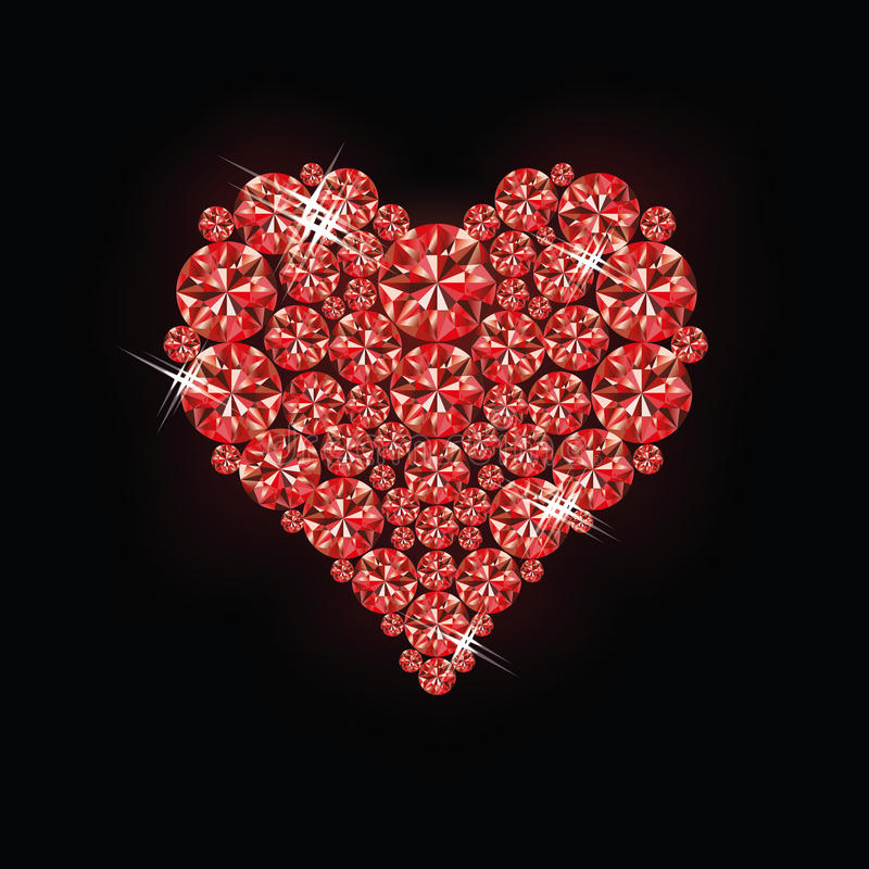 Ruby heart. Card, vector illustration royalty free illustration