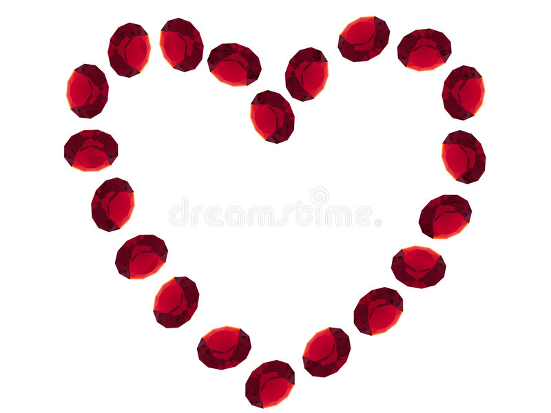 Ruby heart. Isolated ruby gems on white background royalty free illustration