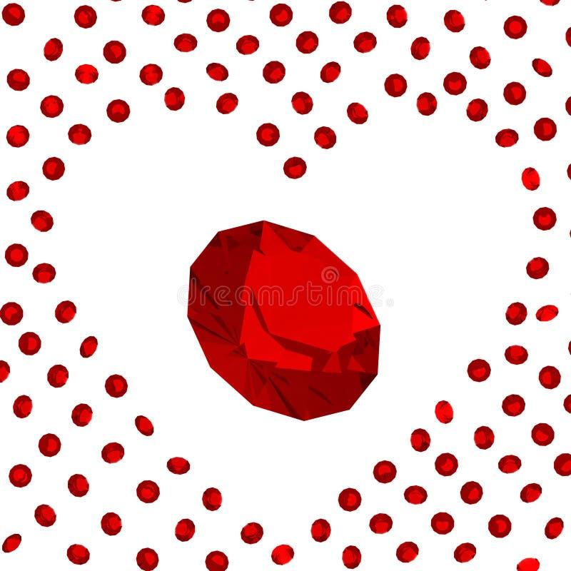 Ruby heart. Isolated ruby gems on white background stock illustration