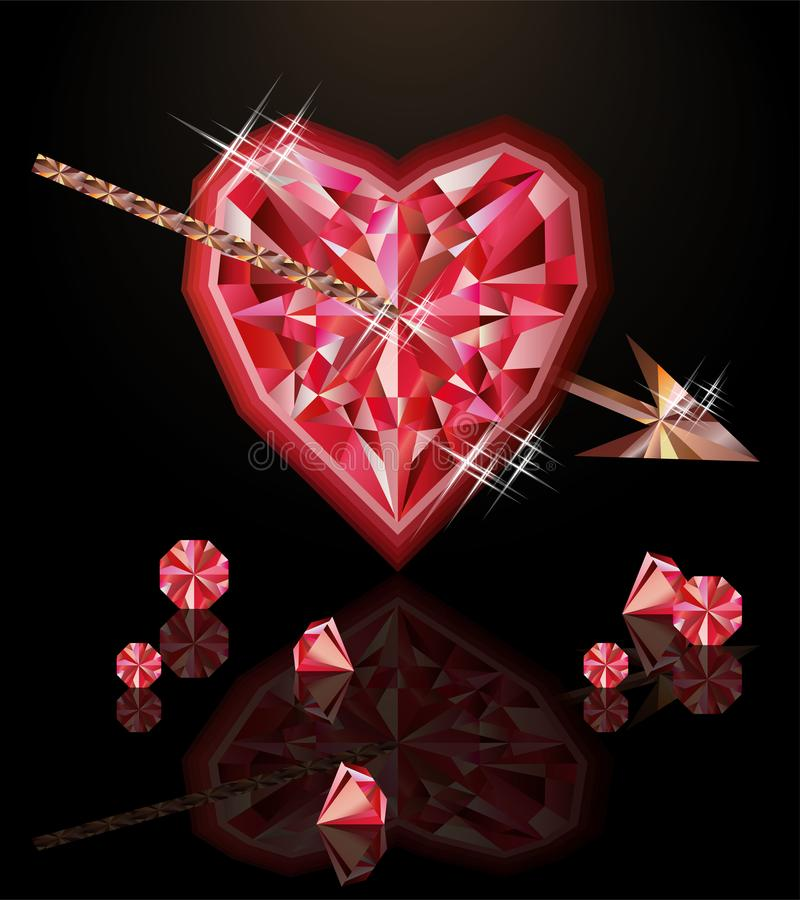 Ruby heart and arrow, happy valentines day vector illustration