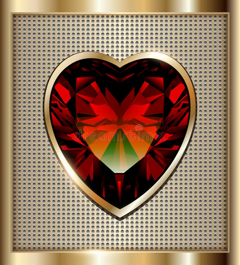 Ruby heart background. Gold background with ruby red heart, vector illustration stock illustration