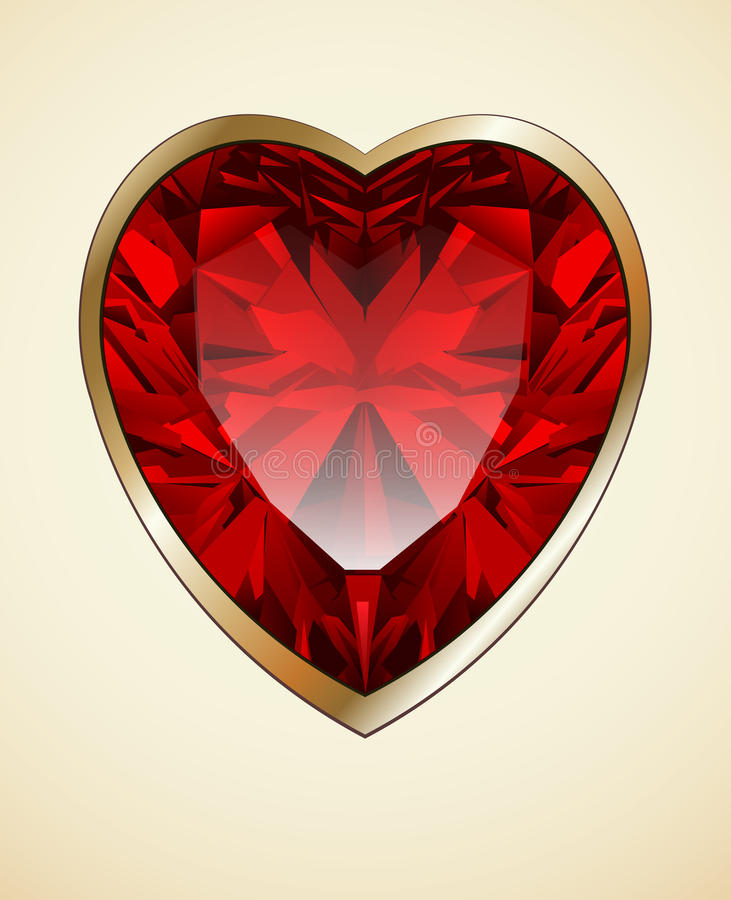 Ruby heart background. Ruby red heart as romantic background, vector illustration vector illustration