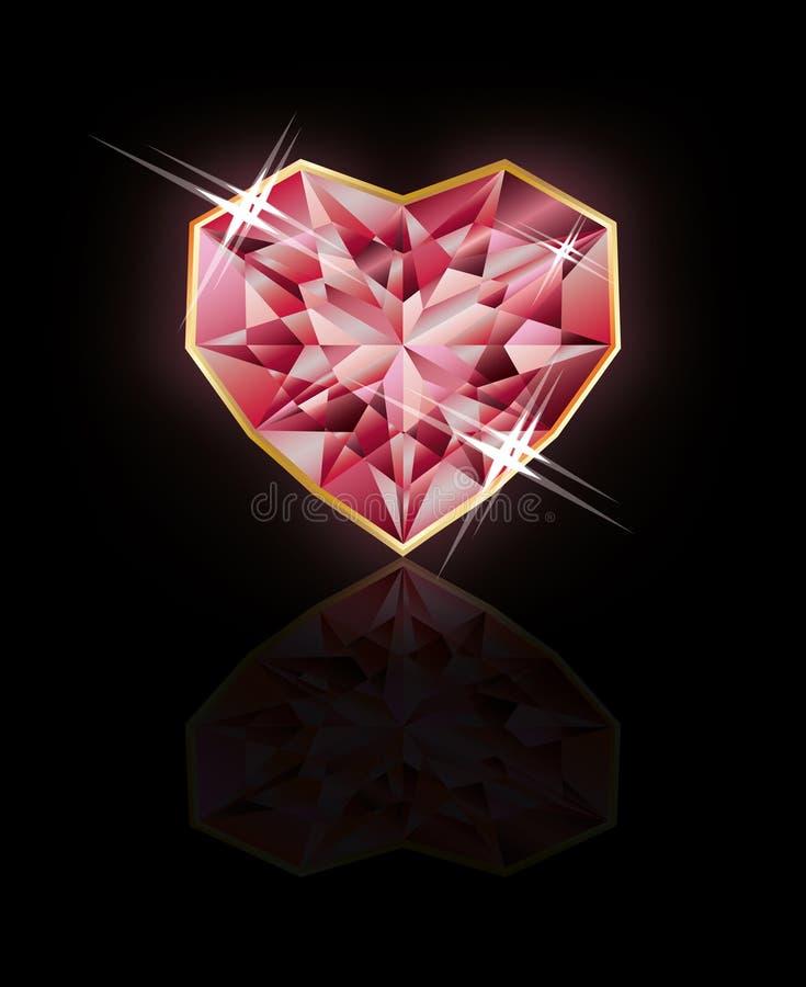Ruby heart background. Vector illustration stock illustration