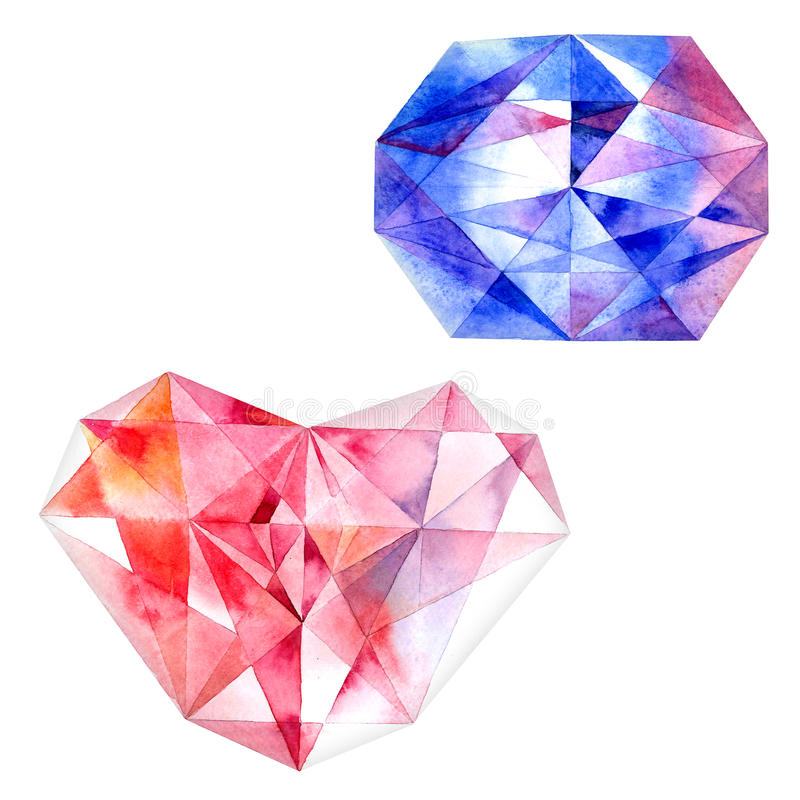 Ruby heart and blue diamond. Watercolor illustration of diamond crystals royalty free illustration