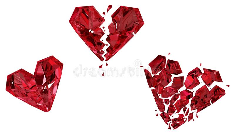 Ruby Heart Breaking stock illustration