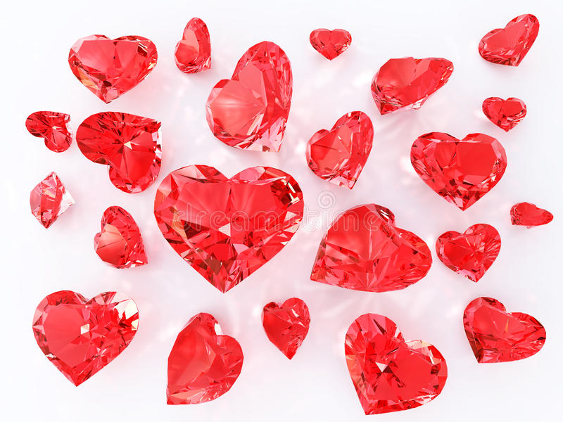 Ruby in the heart faceting stock illustration