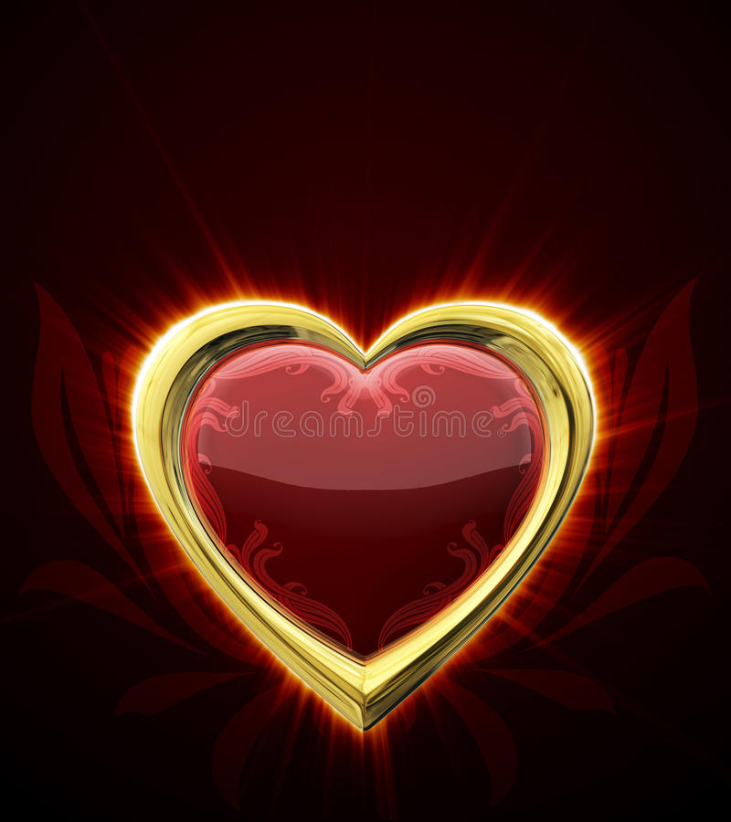 Ruby heart. In gold frame royalty free illustration