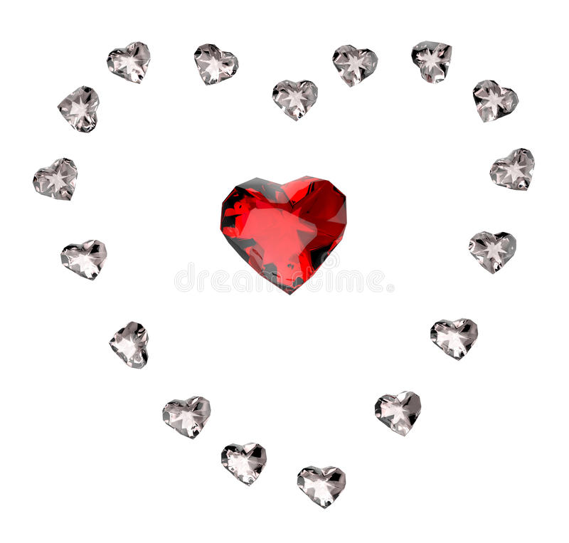 Ruby heart. Isolated on white background vector illustration