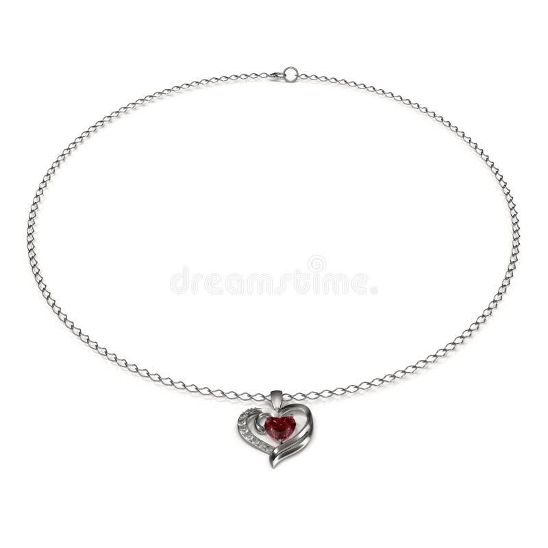 Ruby Heart Necklace op Witte 3D Illustratie stock illustratie