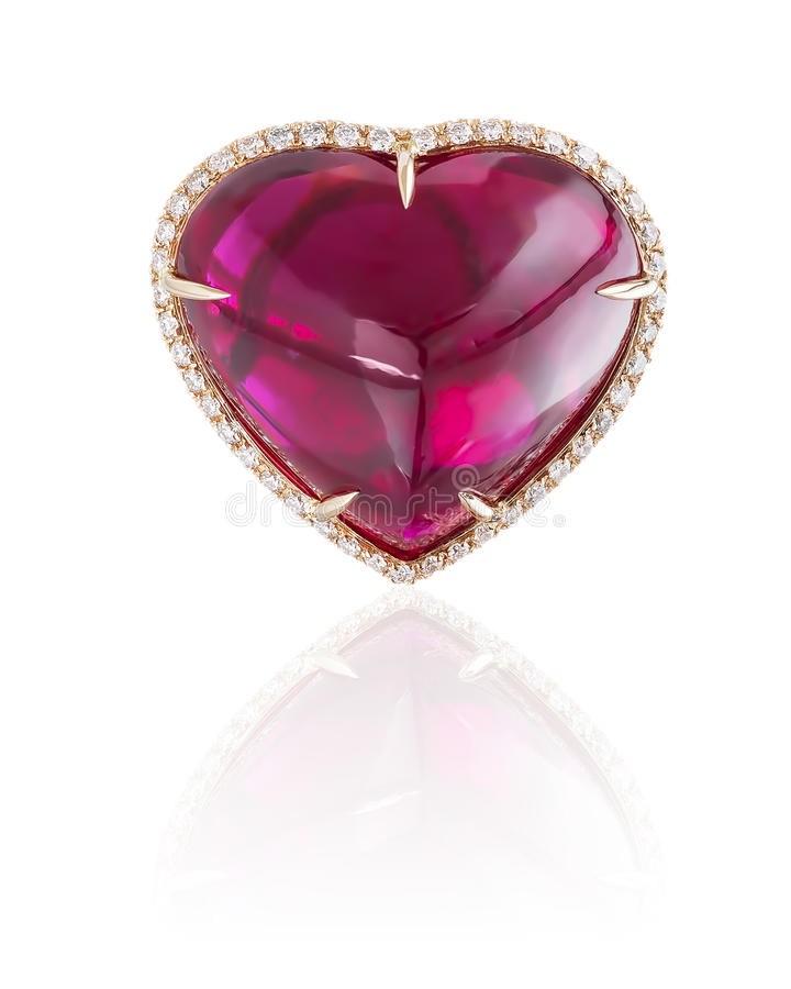 Ruby heart ring on white. royalty free stock photo