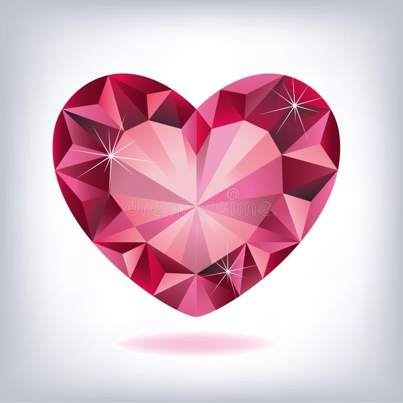 Ruby heart-shaped vector illustration