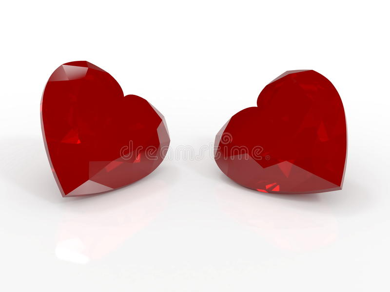 Ruby hearts. Two red ruby hearts on white stock illustration