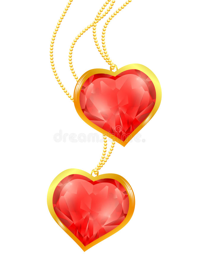 Ruby hearts. Two ruby hearts at golden chain over white vector illustration