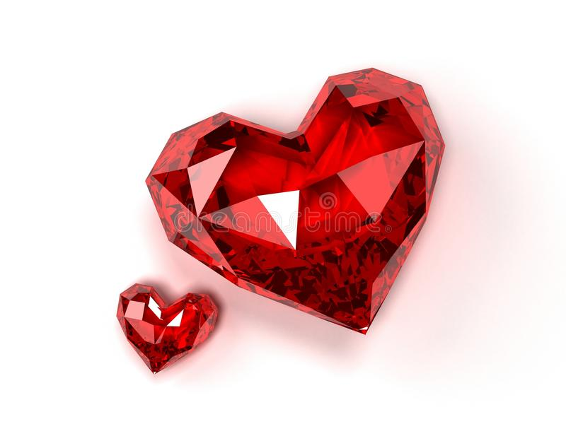 Ruby hearts. 3d rendered illustration of two isolated expensive ruby on white background stock illustration