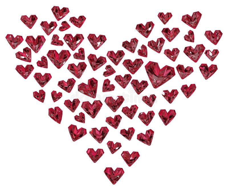Ruby Hearts Shape ilustração do vetor