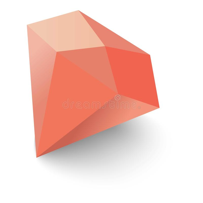 Ruby icon, isometric 3d style. Ruby icon. Isometric 3d illustration of ruby vector icon for web royalty free illustration