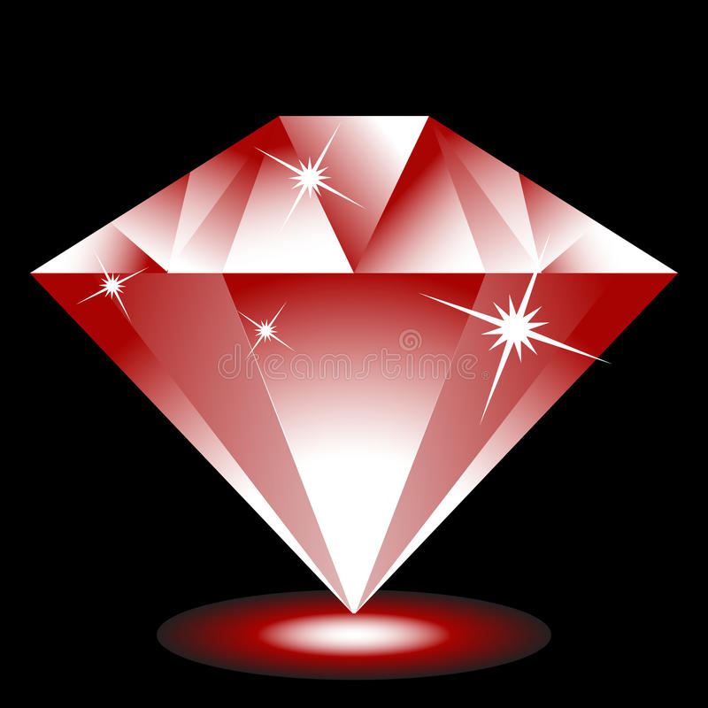 Ruby Jewel. 3d ruby Jewel isolated on a black background image royalty free illustration
