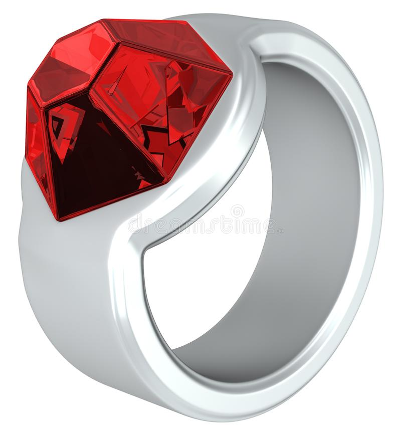 Ruby Ring. Ruby jewel ring silver metal 3d illustration, vertical, texture wallpaper background stock illustration