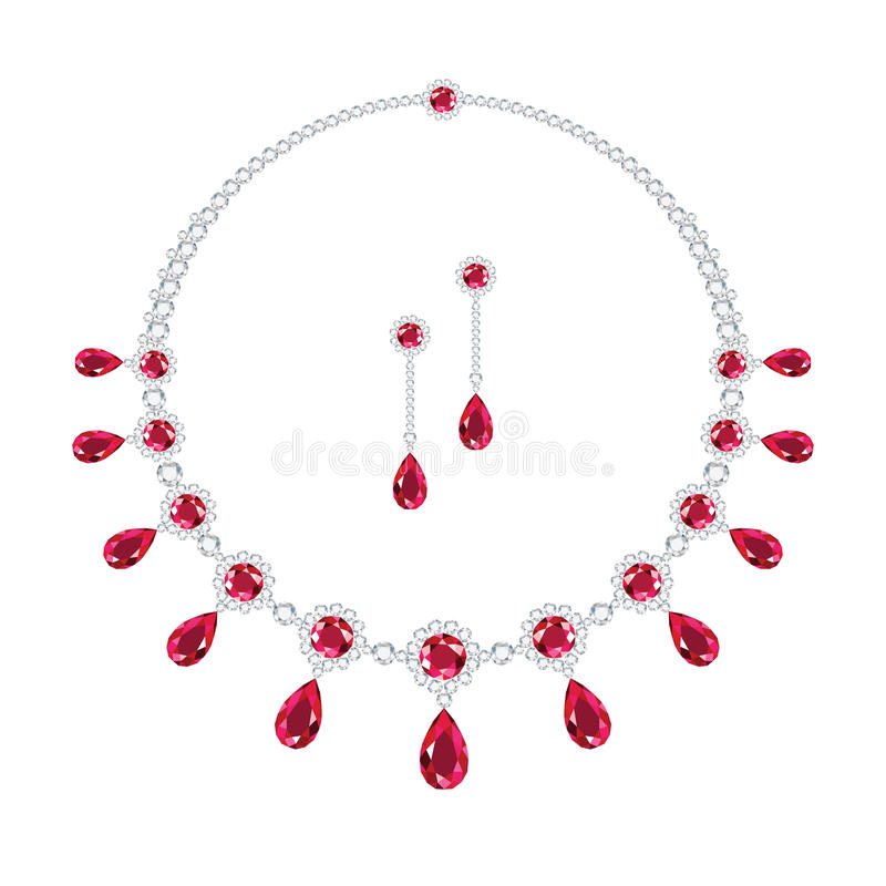 Ruby jewellery. A ruby and diamond necklace and a matching pair of earrings stock illustration