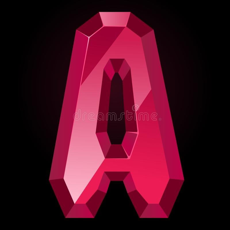 Ruby letter A. Treasures of alphabet. Gemstone letters royalty free illustration