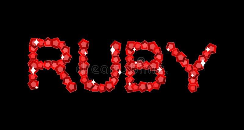 Ruby is lettering symbol. Red gemstone emblem.  royalty free illustration