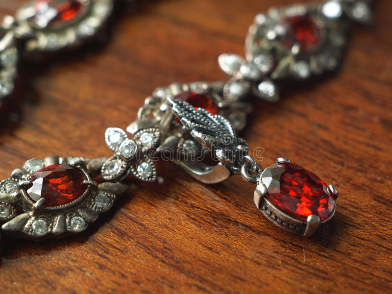 Ruby necklace stock photo