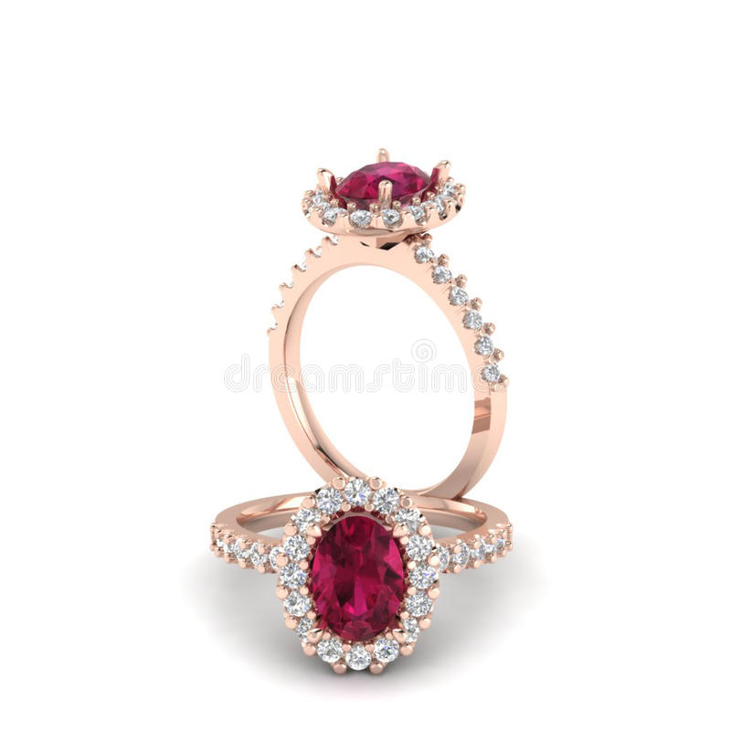 Ruby oval ring. Background diamond shape illustration 3D rander stock illustration