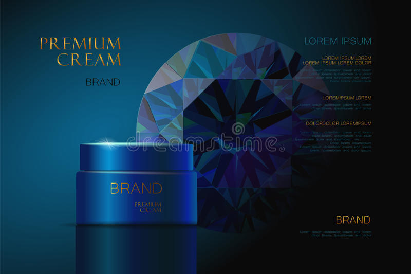 Ruby Premium cosmetic ads cream. skin care. 3d realistic illustration. Premium cosmetic ads cream. skin care. beautiful box with a blue background. sapphire royalty free illustration
