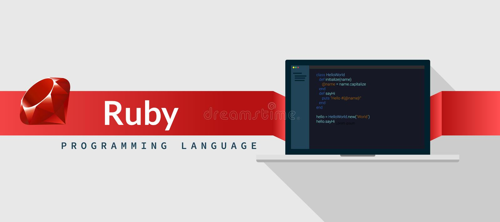 Ruby programming language with script code on laptop screen, programming language code illustration.  vector illustration