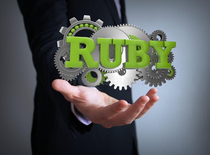 Ruby on rails coding. Businessman royalty free illustration