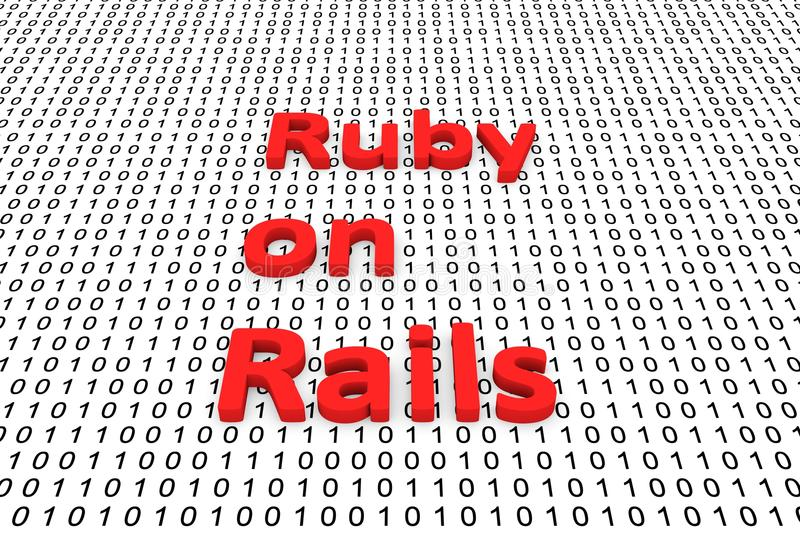 Ruby on rails. In the form of binary code, 3D illustration royalty free illustration