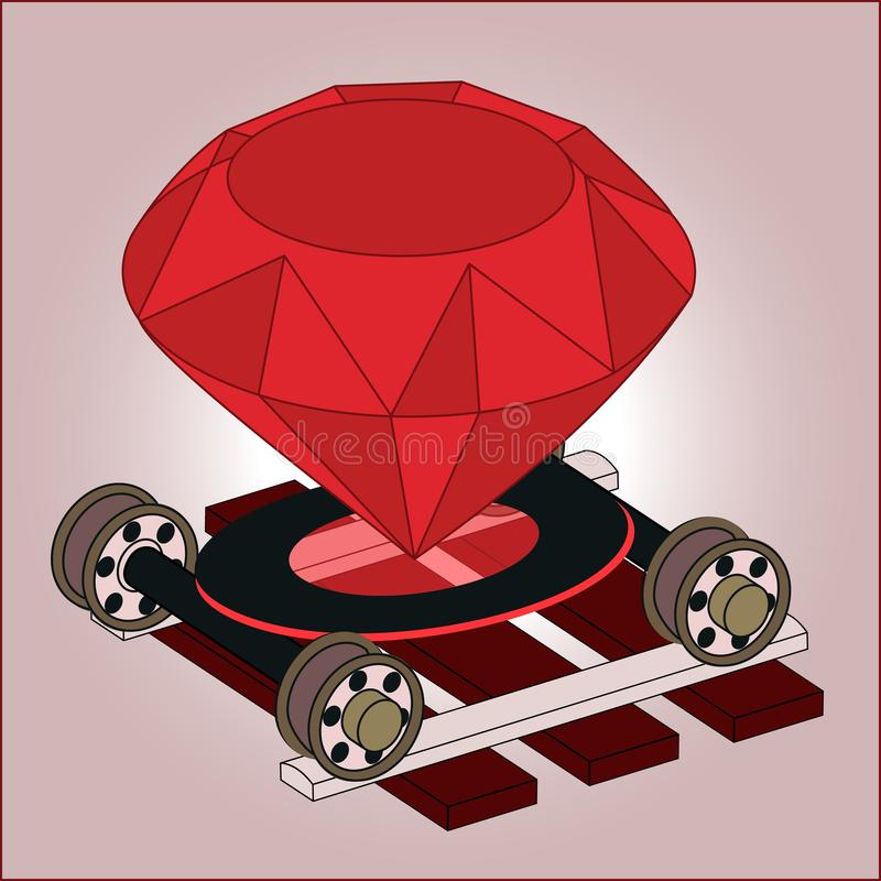 Ruby on rails full color isometric 3D art. Real jewel gem on wheel pairs on ties. Programming language framework for web backend server software development. RoR vector illustration