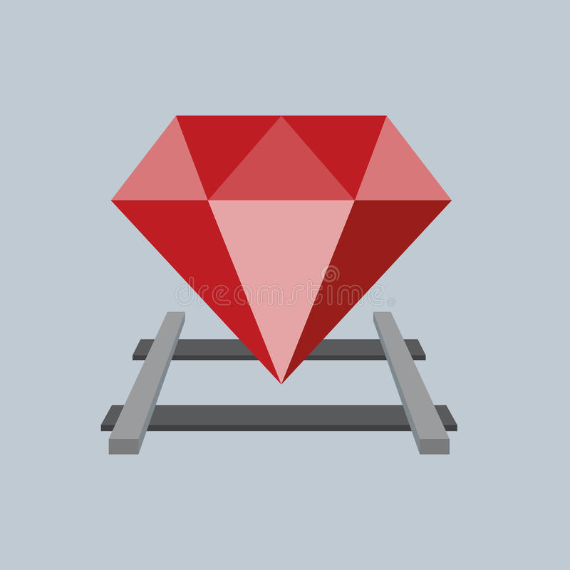 Ruby on the railway. Vector Flat design. Ruby on the railway sign programming language, Vector Flat design royalty free illustration