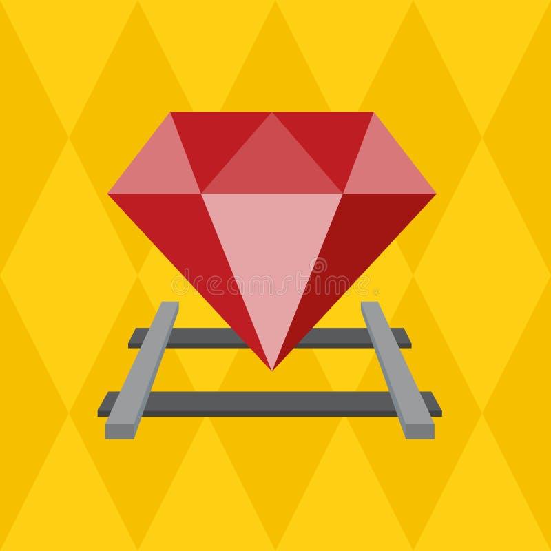 Ruby on the railway. Vector Flat design. Ruby on the railway sign programming language, Vector Flat design vector illustration