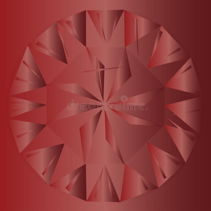 Ruby Red Background. A ruby red background with facets and cuts of the gem royalty free illustration