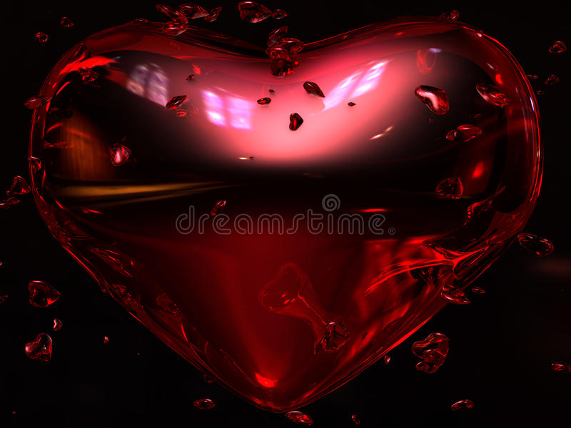 Ruby Red Heart. S with little hearts around, behind, and through it. Black background with highlighted reflections and refractions. A Glass/Ruby heart scene with royalty free illustration